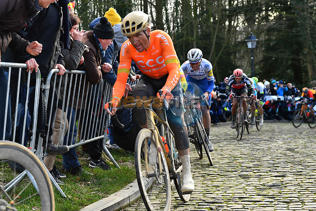 Greg Van Avermaet (BEL) CCC Team climbs the Muur van Geraardsbergen during Omloop Het Nieuwsblad 2020, Belgium. 29th February 2020.<br /> Picture: Serge Waldbillig/cyclingpix.lu | Cyclefile<br /> <br /> All photos usage must carry mandatory copyright credit (© Cyclefile | cyclingpix.lu/Serge Waldbillig)