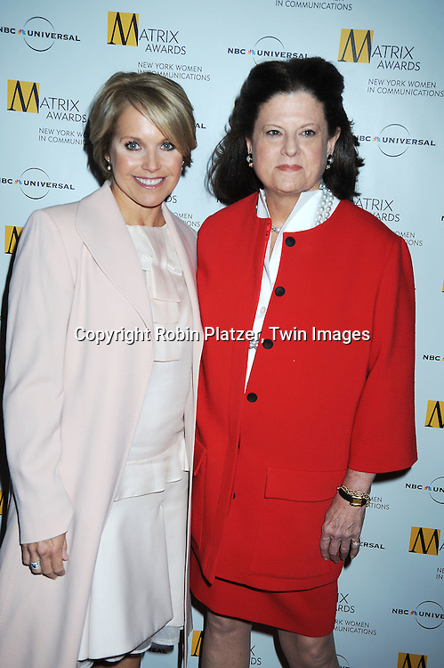 honoree Anne Keating and  Katie Couric  at The 2010 Matrix Awards on April 19, 2010 at The Waldorf Astoria Hotel in New York City.