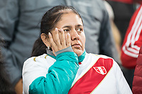 YEKATERINBURG, RUSSIA - June 21, 2018: A Peru fan looks worried late in a game against France during a 2018 FIFA World Cup group stage at Yekaterinburg Arena Stadium.