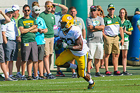Green Bay Packers running back Aaron Jones (33) during a training camp practice on August 1, 2017 at Ray Nitschke Field in Green Bay, Wisconsin.  (Brad Krause/Krause Sports Photography)