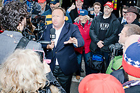 Conspiracy theorist and right-wing broadcaster Alex Jones, of InfoWars, broadcasts live from Constitution Ave. NW, in Washington, D.C., directly after the inauguration of Donald Trump as President of the United States on Fri., Jan., 20, 2017.
