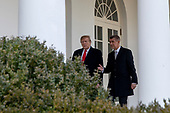 United States President Donald J. Trump walks along the West Wing Colonnade with the Prime Minister of the Czech Republic Andrej Babiö as they prepare to enter the Oval Office ahead of a bilateral meeting at the White House in Washington, D.C. on March 7, 2019. <br /> Credit: Alex Edelman / Pool via CNP