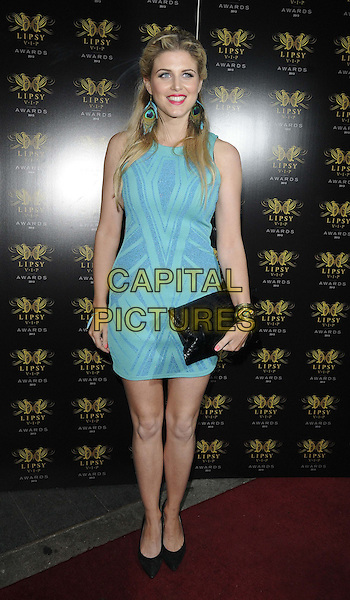 Ashley James<br /> The Lipsy VIP Fashion Awards 2013, DSTRKT, Rupert St., London, England.<br /> May 29th, 2013<br /> full length blue dress black clutch bag sleeveless turquoise <br /> CAP/CAN<br /> &copy;Can Nguyen/Capital Pictures