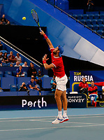 3rd January 2020; RAC Arena, Perth, Western Australia; ATP Cup Australia, Perth, Day 1, Russia versus Italy; Karen Khachanov of Russia smashes the ball at the net against Stefano Travaglia of Italy - Editorial Use