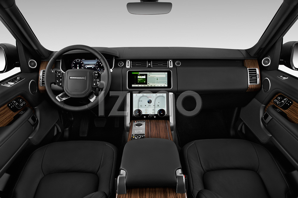 Stock photo of straight dashboard view of a 2019 Land Rover Range-Rover HSE 5 Door SUV