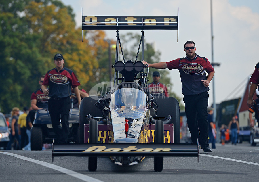 Oct. 5, 2012; Mohnton, PA, USA: NHRA crew members for top fuel dragster driver Khalid Albalooshi during qualifying for the Auto Plus Nationals at Maple Grove Raceway. Mandatory Credit: Mark J. Rebilas-