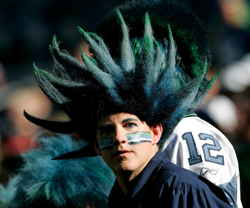 Seattle fan complete with the Seahawks contact lenses at the Arizona Cardinals vs. Seattle Seahawks NFL game at Qwest Field in Seattle on Saturday Sept. 24 2005. (Kevin P. Casey/Wireimage.com)