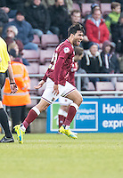 Danny Rose of Northampton Town celebrates scoring the opening goal during the Sky Bet League 2 match between Northampton Town and Wycombe Wanderers at Sixfields Stadium, Northampton, England on the 20th February 2016. Photo by Liam McAvoy.