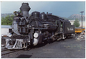 K-28 #478 with fake stack parked in yard.<br /> D&amp;RGW  Durango, CO