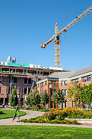 Summer winds to a close just before the new school year begins. Am empty campus at the University of Oregon. New construction overshadows Deschutes Hall.