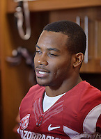 NWA Democrat-Gazette/BEN GOFF • @NWABENGOFF<br /> Rohan Gaines, senior defensive back, speaks to the media on Sunday Aug. 9, 2015 during Arkansas football media day at the Fred W. Smith Football Center in Fayetteville.