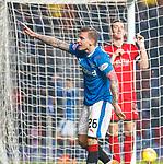 4.3.2018: Rangers v Falkirk Scottish Cup QF<br /> Jason Cummings celebrates his hat trick as Aaron Muirhead chews the net