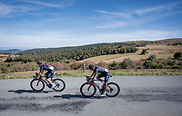 Michal Kwiatkowski (POL/Ineos Grenadiers) piloting Egan Bernal (COL/Ineos Grenadiers) while descending the Col du Béal<br /> <br /> Stage 14 from Clermont-Ferrand to Lyon (194km)<br /> <br /> 107th Tour de France 2020 (2.UWT)<br /> (the 'postponed edition' held in september)<br /> <br /> ©kramon