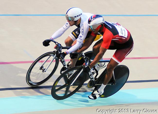 July 12, 2013 - Colorado Springs, Colorado, U.S. -  Trinidad & Tobago's, Njisane Phillip (r), is shoulder to shoulder with his opponent during the U.S. Grand Prix of Sprinting, Seven-Eleven Velodrome, Colorado Springs, Colorado.