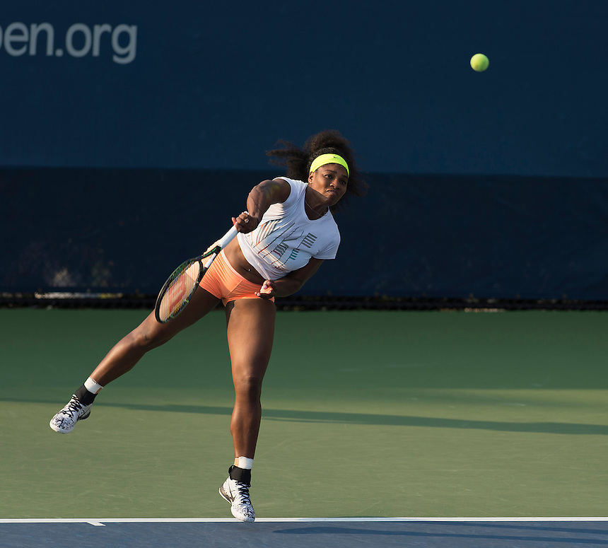 Serena Williams (USA) practices in preparation of her next match after a disappointing performance in her 76 63 win over Kiki Bertens in the previous round<br /> <br /> Photographer - Andrew Patron/CameraSport<br /> <br /> Tennis - United States Open Tennis Championships - Day 3 - Wednesday 2nd September 2015 - USTA Billie Jean King National Tennis Center - Flushing, New York City, USA<br /> <br /> &copy; CameraSport - 43 Linden Ave. Countesthorpe. Leicester. England. LE8 5PG - Tel: +44 (0) 116 277 4147 - admin@camerasport.com - www.camerasport.com