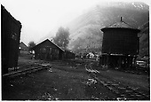 View of the Goose shed and water tank in Telluride yard.<br /> RGS  Telluride, CO  Taken by Clark, Dick - either 1947-1948