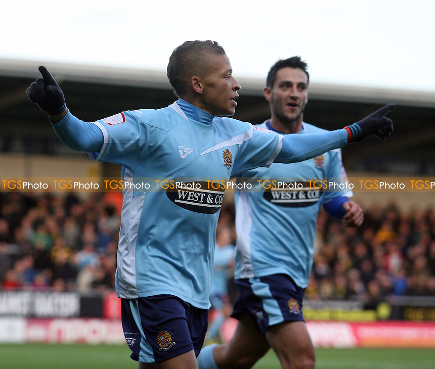 Dwight Gayle of Dagenham celebrates scoring the opening goal - Burton Albion vs Dagenham and Redbridge at the Pirelli Stadium  - 17/11/12 - MANDATORY CREDIT: Dave Simpson/TGSPHOTO - Self billing applies where appropriate - 0845 094 6026 - contact@tgsphoto.co.uk - NO UNPAID USE.