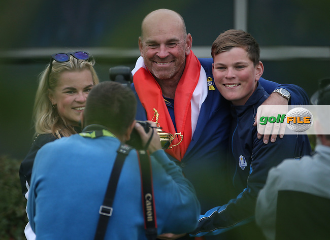 Europe wins the Ryder Cup. Thomas Bjorn (Team Europe Captain) enjoys a private photograph with his children, at Le Golf National, Île-de-France, France. 30/09/2018.<br /> Picture David Lloyd / Golffile.ie<br /> <br /> All photo usage must carry mandatory copyright credit (© Golffile   David Lloyd)