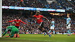 Paul Pogba of Manchester United celebrates his second goal during the premier league match at the Etihad Stadium, Manchester. Picture date 7th April 2018. Picture credit should read: Simon Bellis/Sportimage