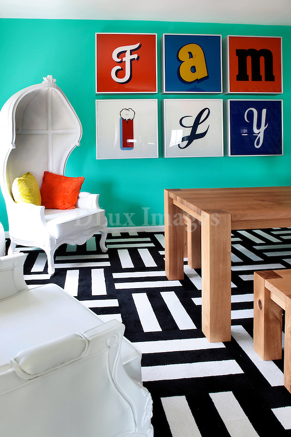 contemporary colorful dining room