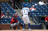 Jake Cronenworth (1) of the Durham Bulls at bat against the Columbus Clippers at Durham Bulls Athletic Park on June 1, 2019 in Durham, North Carolina. The Bulls defeated the Clippers 11-5 in game one of a doubleheader. (Brian Westerholt/Four Seam Images)