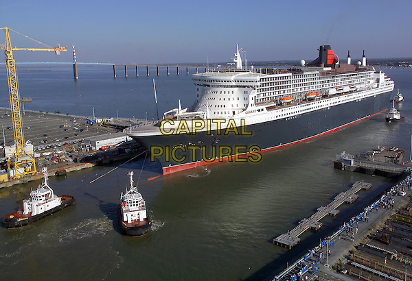 "QUEEN MARY 2 - QM2.""The Most Famous Ocean Liners In The World"".Launch date: 8 January 2004.*Editorial Use Only*.boat, ship, sea.www.capitalpictures.com.sales@capitalpictures.com.Supplied by Capital Pictures."