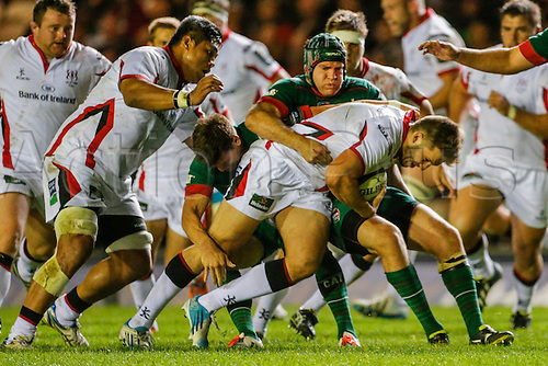 18.10.2014.  Leicester, England.  European Rugby Champions Cup. Leicester Tigers versus Ulster. Stuart McCloskey of Ulster Rugby is tackled by Julian Salvi of Leicester Tigers.   Final score: Leicester Tigers 25-18 Ulster Rugby.