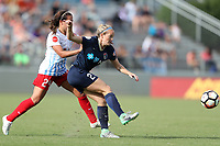 Cary, North Carolina  - Sunday May 21, 2017: Kristen Hamilton and Danielle Colaprico during a regular season National Women's Soccer League (NWSL) match between the North Carolina Courage and the Chicago Red Stars at Sahlen's Stadium at WakeMed Soccer Park. Chicago won the game 3-1.