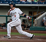 Reno Aces Cole Gillespie lines a double down the thrid base line agianst the Fresno Grizzlies during their game on Friday night August 10, 2012 at Aces Ballpark in Reno NV.
