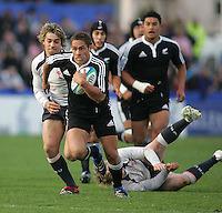 New Zealand centre Jackson Willison finds a gap in the Welsh defence during the Division A semi-final at Ravenhill.