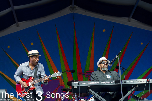 Henry Butler of Henry Butler & Friends performs during the New Orleans Jazz & Heritage Festival in New Orleans, LA.