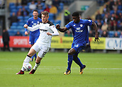 30th September 2017, Cardiff City Stadium, Cardiff, Wales; EFL Championship football, Cardiff City versus Derby County; Bruno Ecuele Manga of Cardiff City looks to close down Sam Winnall of Derby County