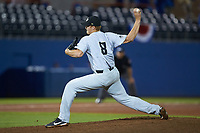 Wake Forest Demon Deacons relief pitcher Colin Peluse (8) in action against the Florida Gators in Game One of the Gainesville Super Regional of the 2017 College World Series at Alfred McKethan Stadium at Perry Field on June 10, 2017 in Gainesville, Florida. The Gators defeated the Demon Deacons 2-1 in 11 innings. (Brian Westerholt/Four Seam Images)