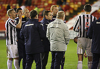 St Mirren manager Danny Lennon speaks to the team before extra time in the Aberdeen v St Mirren Scottish Communities League Cup match played at Pittodrie Stadium, Aberdeen on 30.10.12.