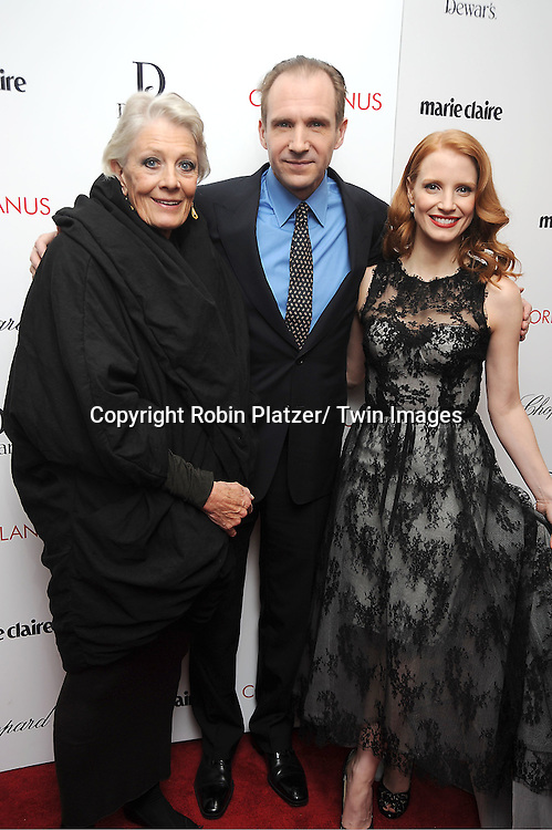 """Vanessa Redgrave, Ralph Fiennes and Jessica Chastain arrive for the New York Premiere of """"Coriolanus"""" on January 17, 2012 at The Paris Theatre in New York City. The movie stars Vanessa Redgrave, Ralph Fiennes and Jessica Chastain."""