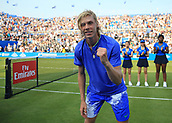 June 19th 2017, Queens Club, West Kensington, London; Aegon Tennis Championships, Day 1; Denis Shapovalov of Canada poses for the photographers after defeating Kyle Edmund of Great Britain in the third and final set