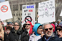 Manifestation contre la loi pro-laicite, le 7 avril 2019<br /> <br /> PHOTO : Agence Quebec Presse