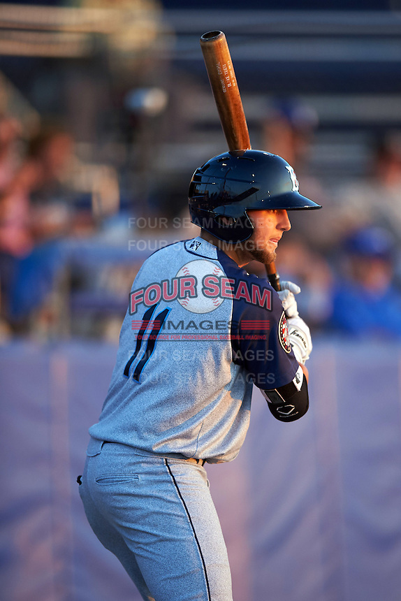 Brooklyn Cyclones third baseman Blake Tiberi (11) during a game against the Batavia Muckdogs on July 5, 2016 at Dwyer Stadium in Batavia, New York.  Brooklyn defeated Batavia 5-1.  (Mike Janes/Four Seam Images)