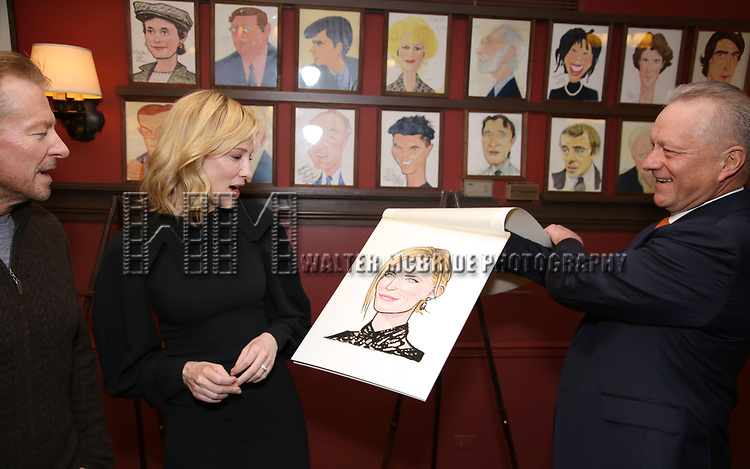 Richard Roxburgh, Cate Blanchett and Max Klimavicius attend the Cate Blanchett and Richard Roxburgh Caricature Unveiling at Sardi's on March 14, 2017 in New York City.