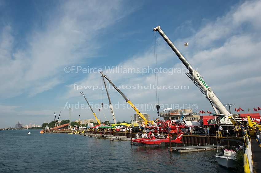 13 July 2008  APBA Gold Cup.The pit area at Detroit with the U-3 (foreground) and the Oh Boy! Oberto being lifted into the water..©2008 F.Peirce Williams. .F. Peirce Williams .photography.P.O.Box 455 Eaton, OH 45320 USA.317.358.7326  fpwp@mac.com