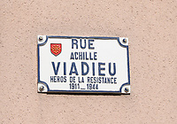 General view of a street sign honouring the Heroes of the French Resistance between 1911 and 1944 on Rue Achille Viadieu, Toulouse, Occitanie, France on 23.7.19.
