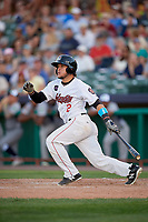 Tri-City ValleyCats catcher Oscar Campos (2) follows through on a swing grounds into a fielder's choice during a game against the Vermont Lake Monsters on June 16, 2018 at Joseph L. Bruno Stadium in Troy, New York.  Vermont defeated Tri-City 6-2.  (Mike Janes/Four Seam Images)