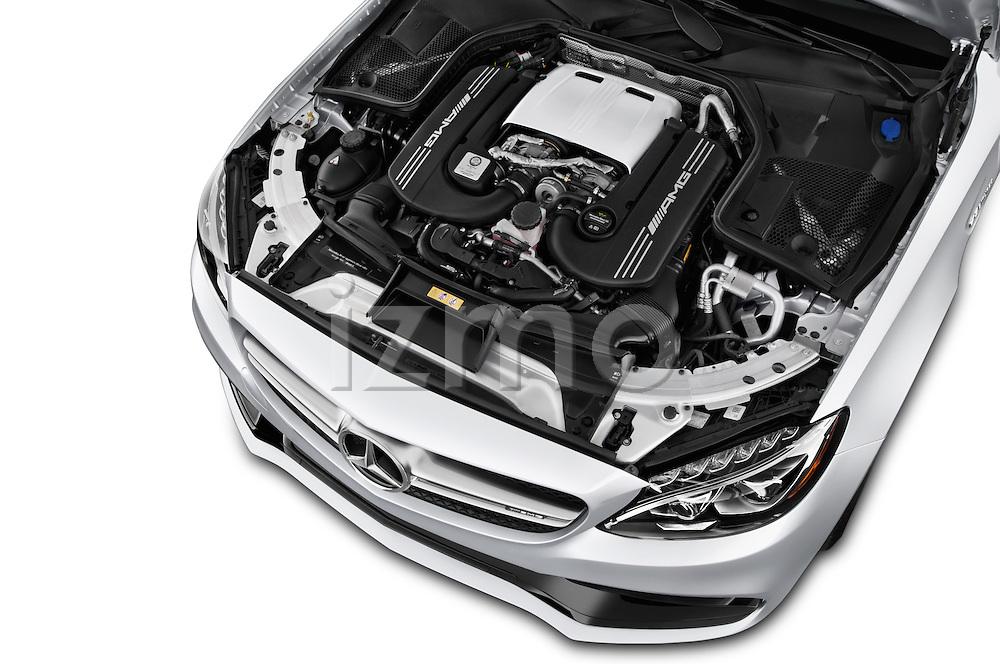Car Stock 2016 Mercedes Benz C-Class AMG-C63-S 4 Door Sedan Engine  high angle detail view