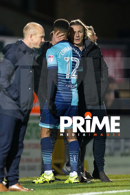 Wycombe Wanderers Manager Gareth Ainsworth with Paris Cowan-Hall of Wycombe Wanderers during the Sky Bet League 2 match between Wycombe Wanderers and Yeovil Town at Adams Park, High Wycombe, England on 25 November 2017. Photo by Andy Rowland.