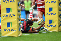 Ben Youngs of Leicester Tigers scores the opening try of the match. Aviva Premiership match, between Leicester Tigers and Gloucester Rugby on September 16, 2017 at Welford Road in Leicester, England. Photo by: Patrick Khachfe / JMP