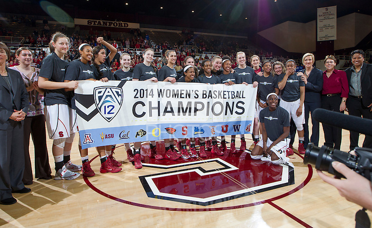 Stanford celebrates after the Stanford women's basketball  vs Washington State at Maples Pavilion, Stanford, California on March 1, 2014.