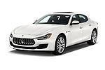 2018 Maserati Ghibli Base 4 Door Sedan angular front stock photos of front three quarter view