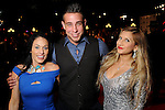 From left: Tina Green, Eros Filippi and Aimee Perez on the red carpet at Fashion Houston 5 at the Wortham Theater Friday Nov. 21, 2014.(Dave Rossman photo)