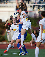 In a National Women's Soccer League Elite (NWSL) match, the Boston Breakers defeated the Western New York Flash  2-1, at Dilboy Stadium on May 5, 2013.  Western New York Flash defender Brittany Taylor (13) and Boston Breakers forward Katie Schoepfer (12) compete for a head ball.