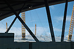 The Dome framed by North Greenwich tube station, London UK. The site is currently being redeveloped for the Olympic Games in 2012,